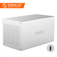 ORICO 4 Bay Type C 3.5''Hard Drive Enclosure with Raid SATA to USB C HDD Docking Station Support 40TB RAID0/1/3/5/10/JBOD/Clear