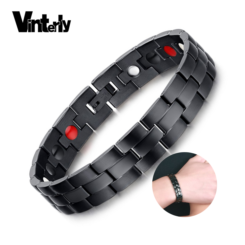 Vinterly Black Magnetic Armband for Men Health Energy Germanium Armband Män Handkedja Rostfritt stål Magnetic Armband Man