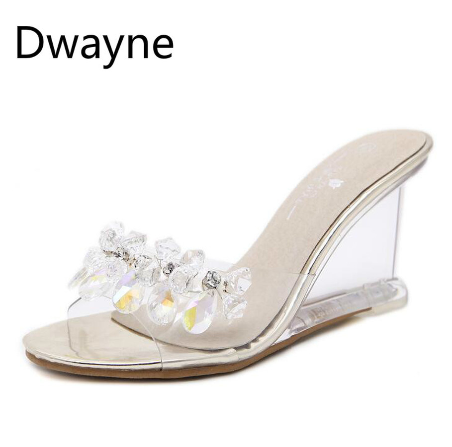 Dwayne 2018 wedge sandals women summer sexy crystal transparent high heeled slippers rhinestone wedge sandals