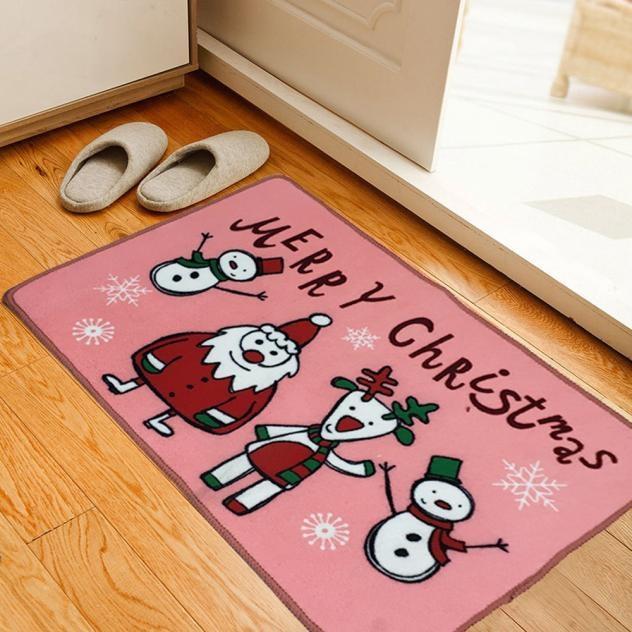 45*70cm Anti Slip Absorbent Polyester Door Mats Merry Christmas Carpet  Outdoor Rug Floor Mat Front Door Mats Xmas Decoration