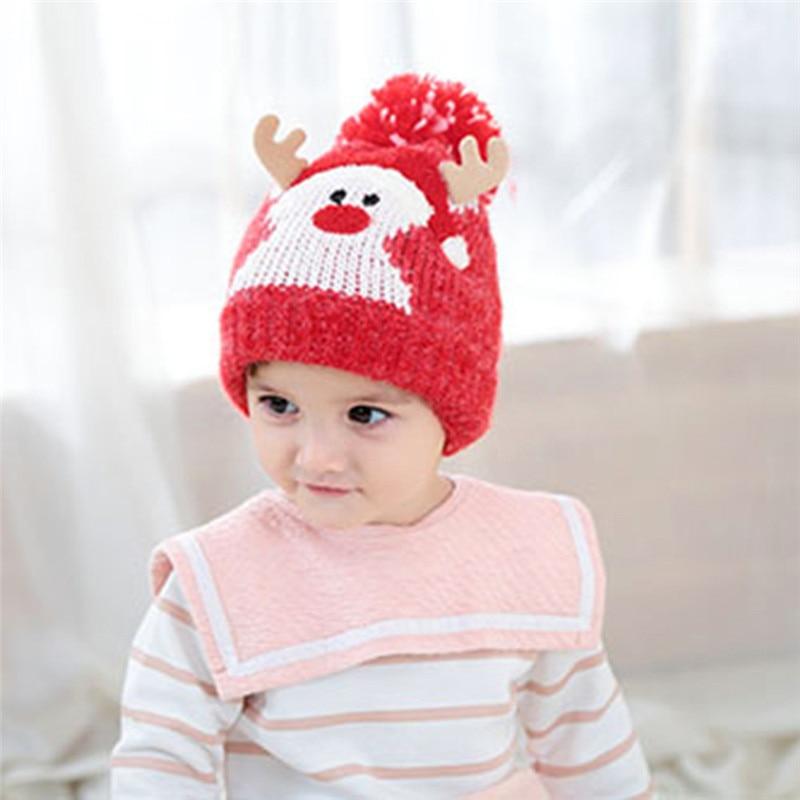 1d36f5c0bdd35 Baby kids Christmas reindeer knitting hair ball hat thickened Warm Crochet Knit  winter Pom pom beanie skull cap