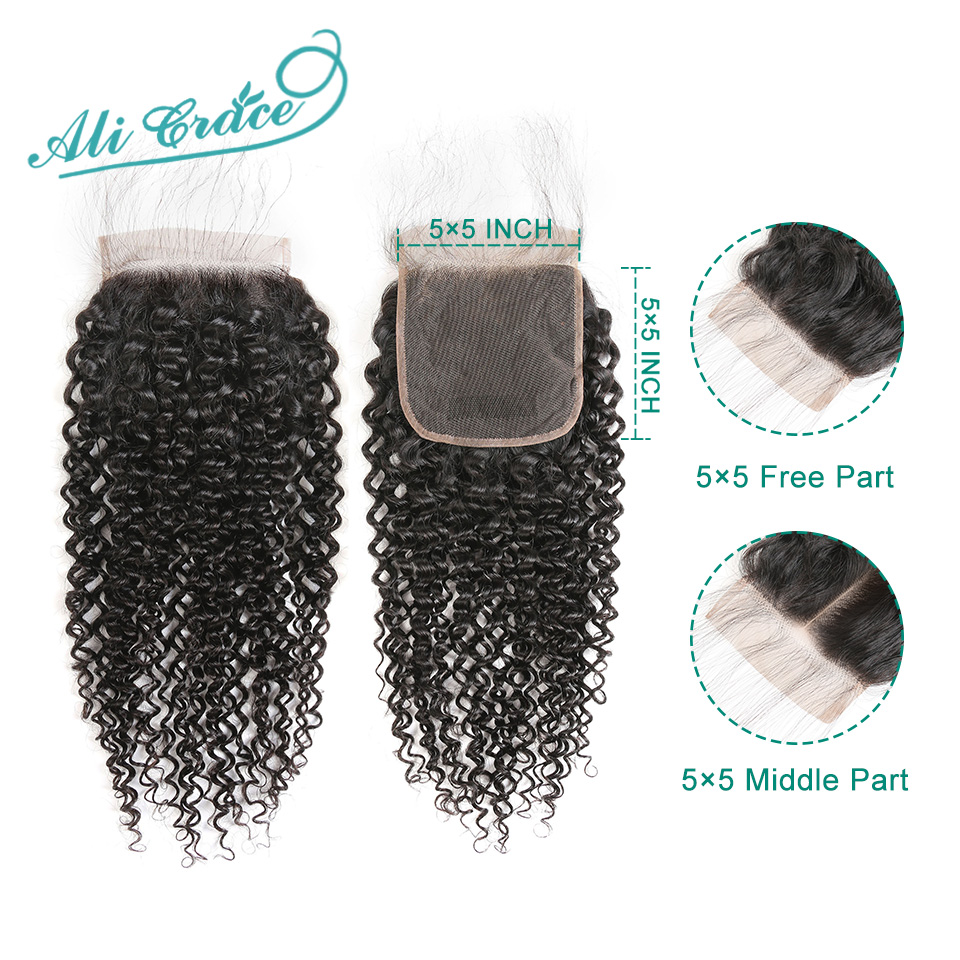 Lace-Closure Baby-Hair Ali-Grace Curly Kinky 100%Human-Hair Free-Part Swiss 5x5 And