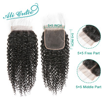 Ali Grace Hair Kinky Curly  5x5 Lace Closure Middle and Free Part Swiss Lace 100% Human Hair Closure With Baby Hair
