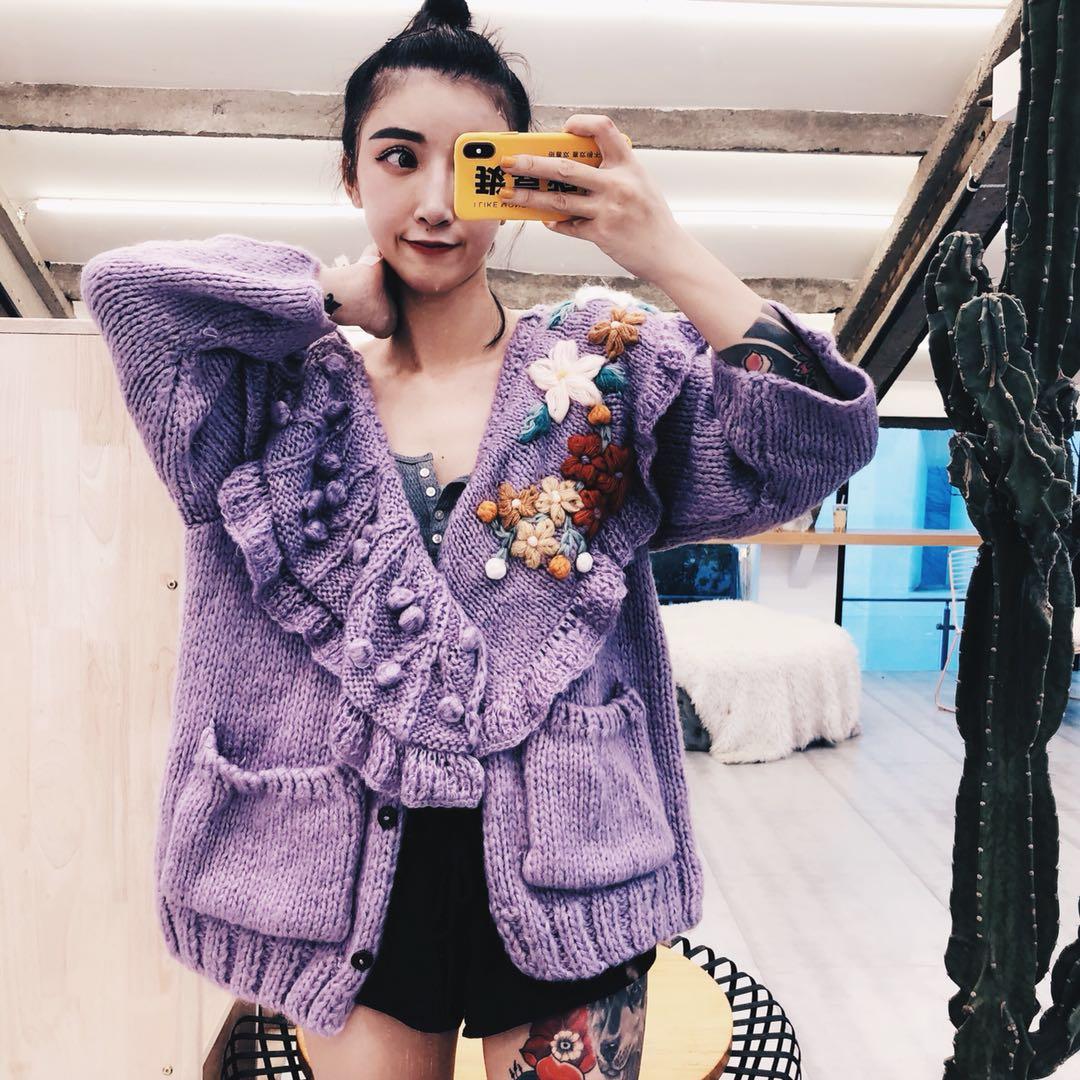 2019 Chandail Crochet Femmes Dimensions Violet La Cardigan Nouveau Fleur Lâche En Tricot Pourpre Pull À Main Printemps De Trois vREqrxv