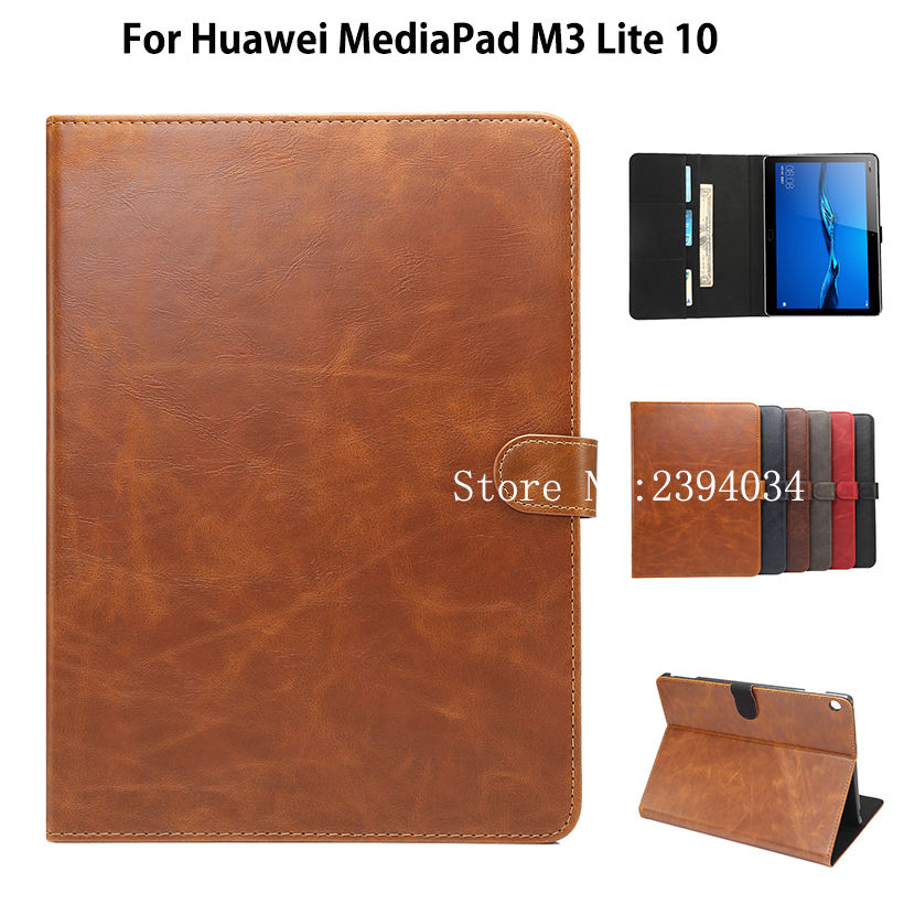 Luxury Case Cover For Huawei MediaPad M3 Lite 10 10.1 BAH-W09 BAH-AL00 Smart Cover Funda Tablet PU Leather Stand Case Shell coque smart cover colorful painting pu leather stand case for huawei mediapad m3 lite 8 8 0 inch cpn w09 cpn al00 tablet