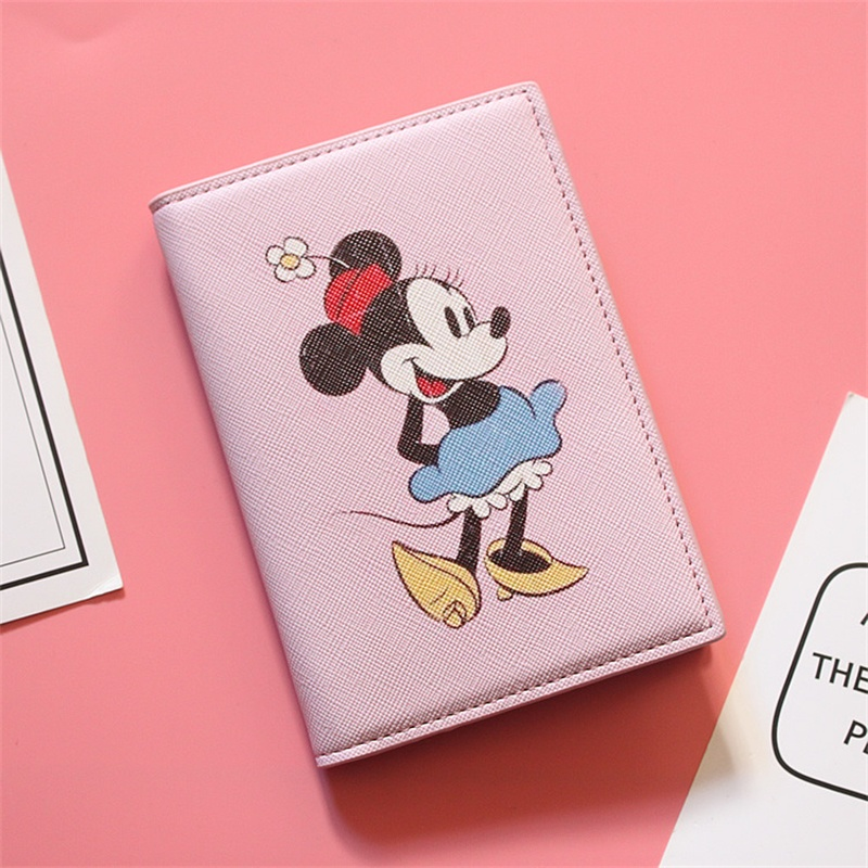 Cute Cartoon Printing Girls Passport Holder Minnie PU Leather Ticket ID Card Holder Travel Passport Cover 8 Colors To Choose