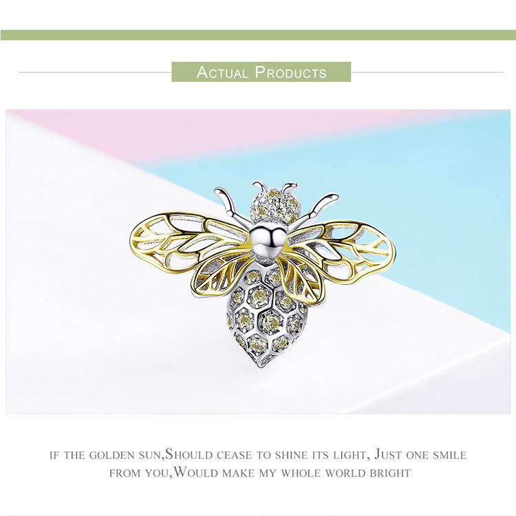 BAMOER Hot Sale Authentic 925 Sterling Silver Crystal Bee Beads Charms fit for Original Charms Women Luxury DIY Jewelry BSC067