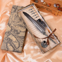 1Set Vintage Calligraphy Feather Dip Writing Pen Ink Set Stationery Gift Box With 5 Nib Festival Gift Quill Fountain Pen все цены