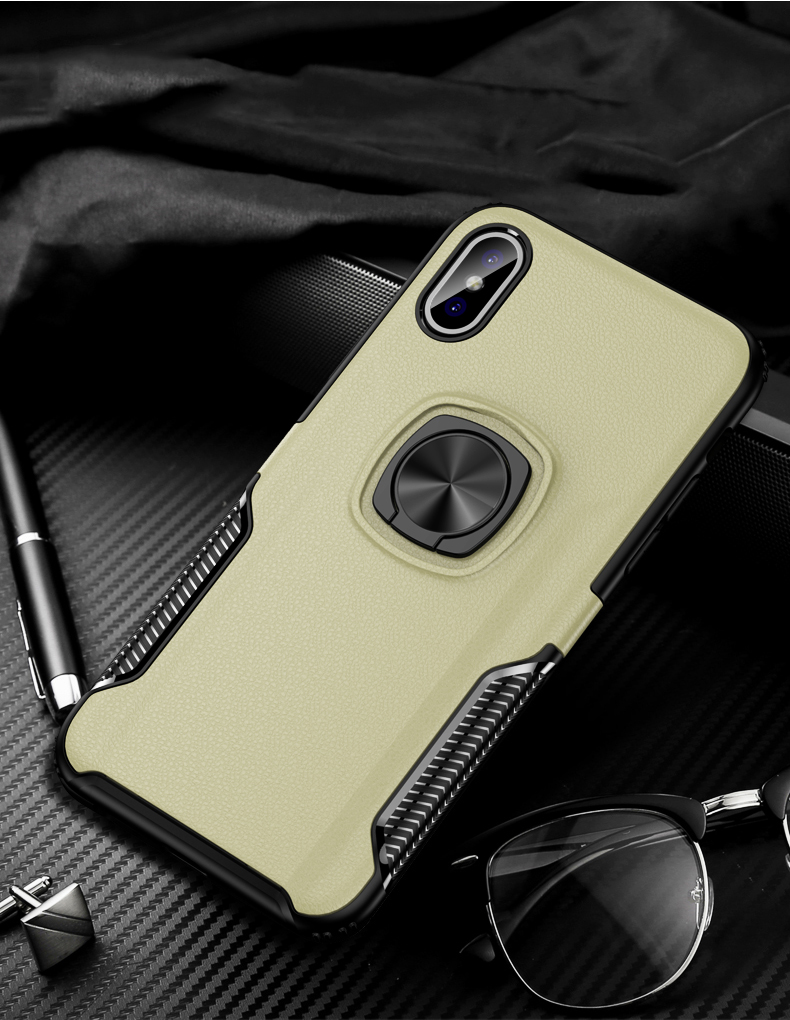 Luxury Leather texture Bracket case For iPhone x xs max xr Shockproof armor cover For iphone 6 6s 7 8 plus case with ring holder (15)
