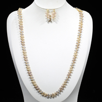 Dazz Luxury 3 Color Beautiful Zircon Plant Leaf African Necklace Earrings Set Indian Jewelry Sets For Women's Wedding Engagement