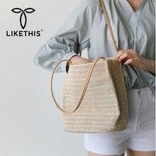 LIKETHIS New Women Handbag Beach Bag Rattan Woven Handmade Shopper Knitted Straw Large Capacity Totes Shoulder Travel Female