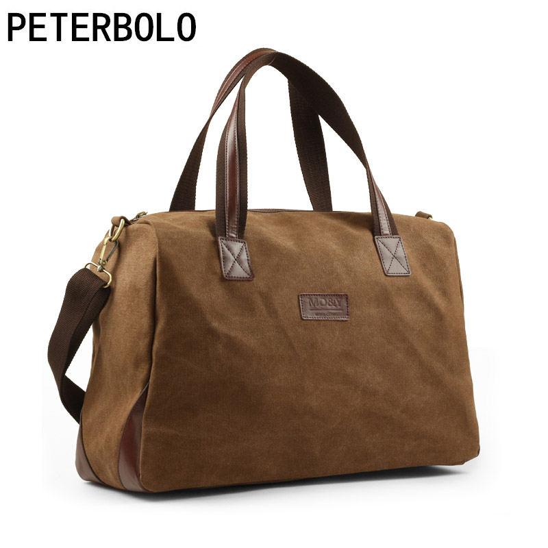 Peterbolo Men Canvas Shoulder Bag Big Vintage Handbag Fashion Travel Daypack Simplicity Solid Duffle Bag 2 Colors Available