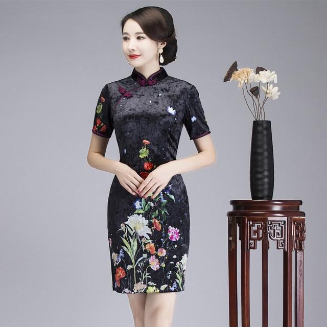 Summer Lady Short Sleeve Dress Chinese Traditional Mandarin Collar Handmade  Button Cheongsam Female Vintage Qipao Size f822dbb42a38