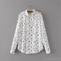 2017 Women Summer Long Sleeve Harajuku Casual Turn-down Collar Shirt Fashion White Chiffon Loose Large Size Chemise Print Blouse