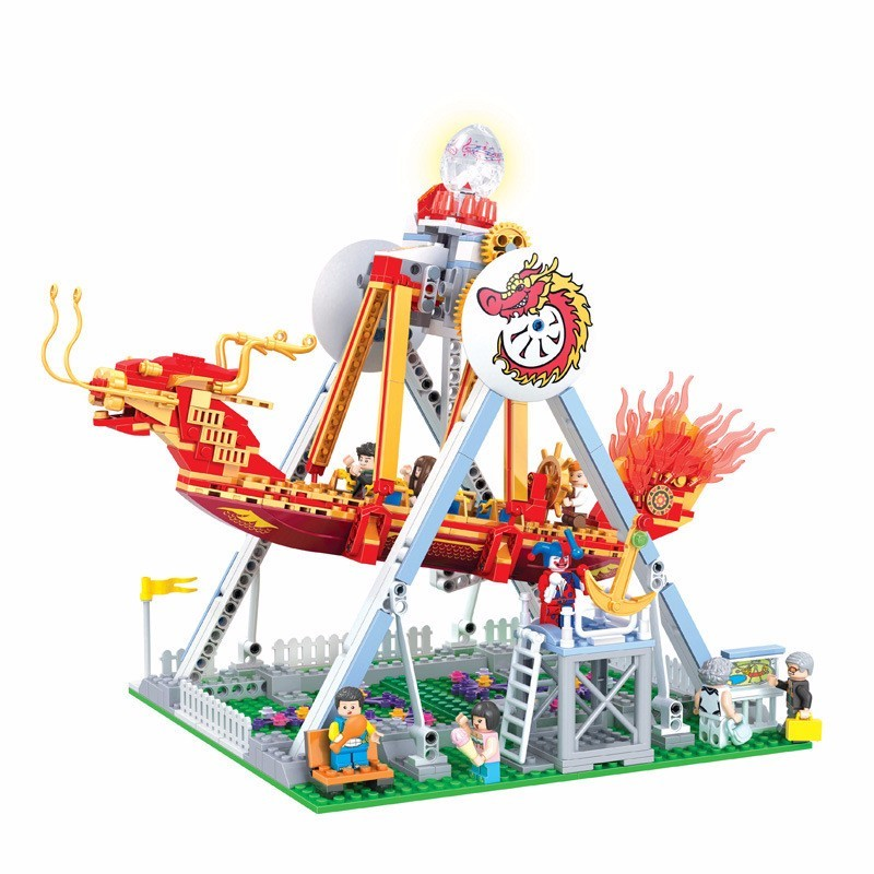 New 7033 710pcs Friends Series The City Park Cafe Pirate Ship Girl With Light Building Block Brick Toy