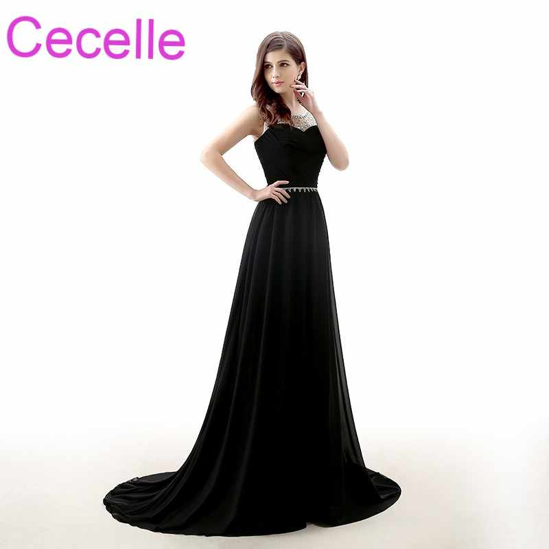 afc9ad58bdc2c Black A-line Long Evening Dresses 2019 Sleeveless Beaded Ruched Chiffon  Teens Simple Evening Party Gowns With Short Train
