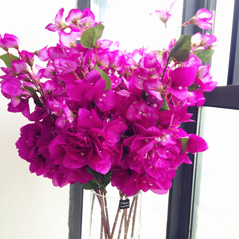 "6pcs Bougainvillea Glabra Artificial Hot pink color Fake Bougainvillea Flower 31.5"" for Wedding Centerpieces Decorative Flowers"