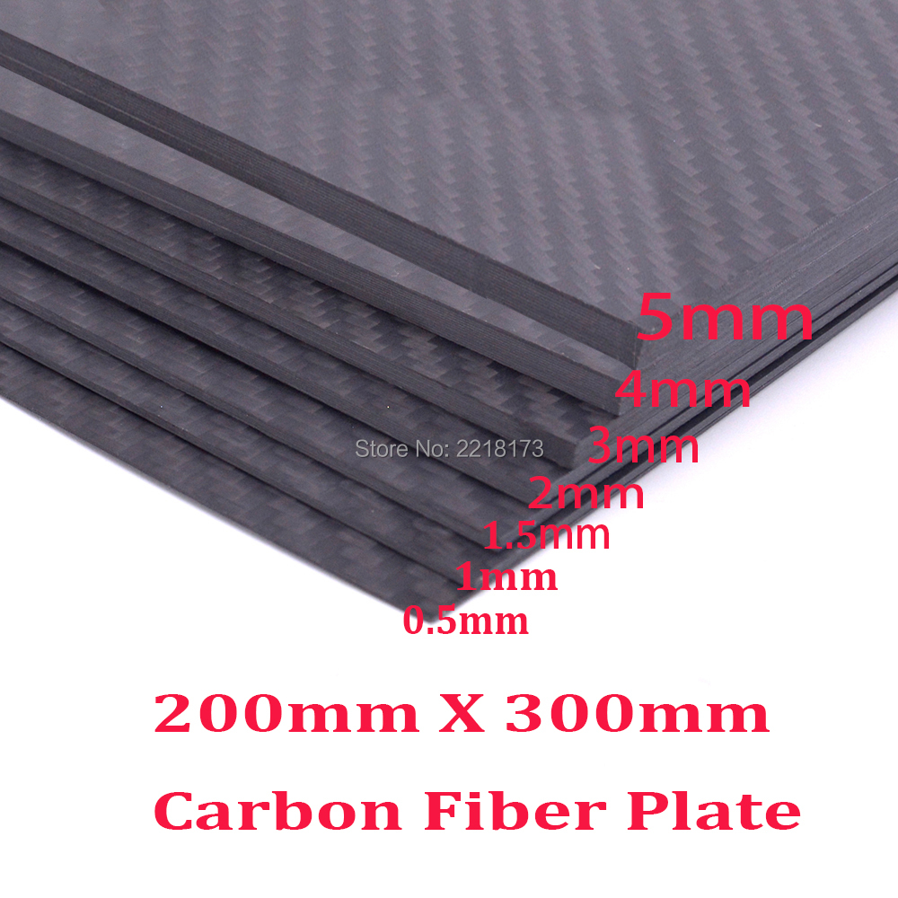 Real Carbon Fiber Plate Panel Sheets 200mm X 300mm 0.5mm 1mm 1.5mm 2mm 3mm 4mm 5mm thickness Composite Hardness Material for RC 2mm x 200mm x 300mm 100% carbon fiber plate rigid plate car board rc plane plate