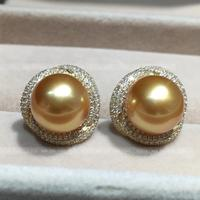 Women Gift word 925 Sterling silver real Philippines Sea Pearl Earring Earrings round flawless lig