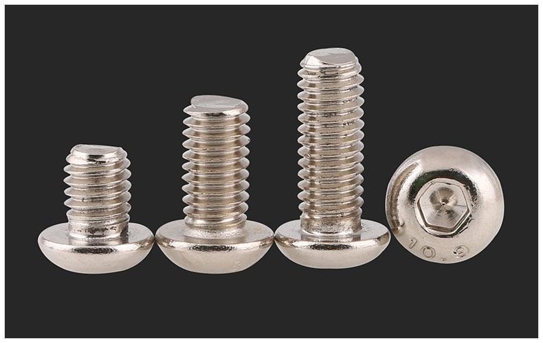 Iso7380 10.9 carbon steel round head screw Nickel plating M1.6 M2 M2.5 M3 M4 screws bolt hex socket 20pcs m3 6 m3 x 6mm aluminum anodized hex socket button head screw