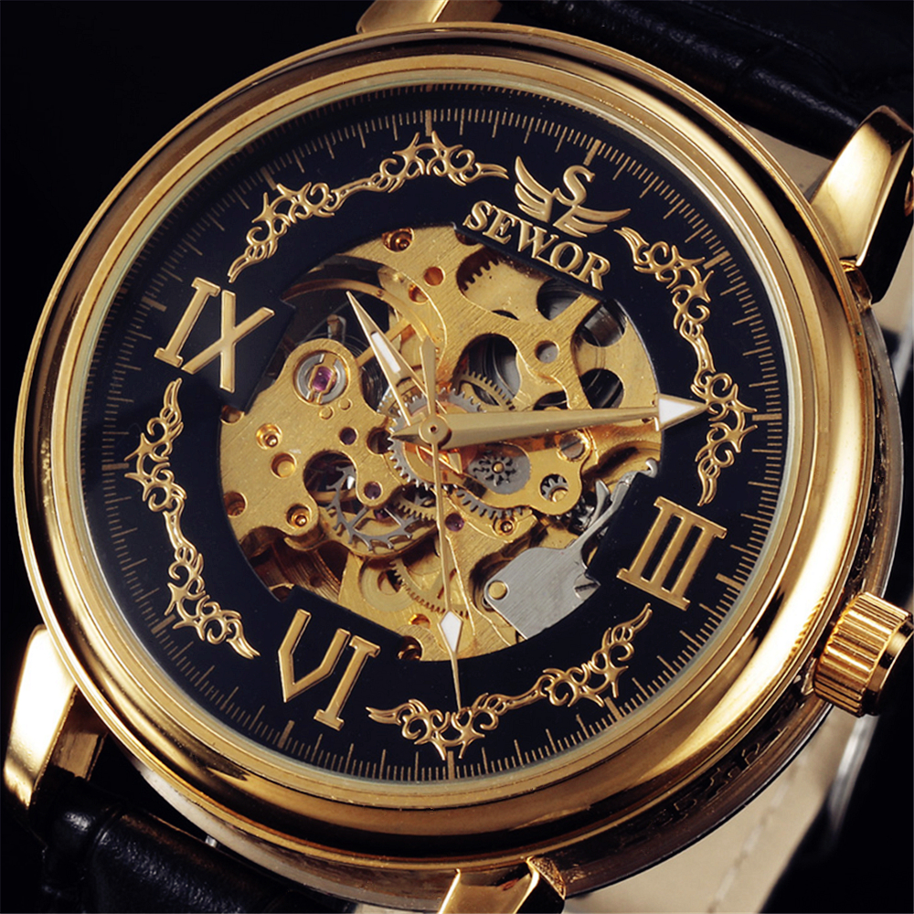 SEWOR Mens Automatic Wristwatch Luxury Die-Casting Gold Case S Hollow Skeleton Dial Clock Leather Strap Male Mechanical Watches