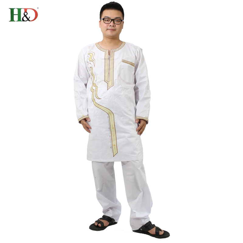 H&D (Besplatna dostava) Afrički čovjek modni dizajn Bazin Riche vez - Nacionalna odjeća - Foto 1
