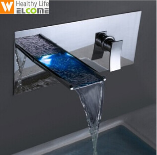 LED faucet wall mounted bathroom wall led waterfall faucet Led taps bathroom Bathtub faucet 3 color LED Faucet Tap