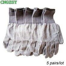 Gants de travail en nylon et fibre de carbone, 5 paires, sans électricité statique, portables, serrés, pour envelopper la voiture, teintes de fenêtre, outils auxiliaires, gants tricotés 5D08