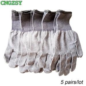 Image 1 - Gants de travail en nylon et fibre de carbone, 5 paires, sans électricité statique, portables, serrés, pour envelopper la voiture, teintes de fenêtre, outils auxiliaires, gants tricotés 5D08