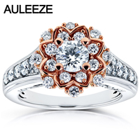 Halo Moissanites 14k Two tone Gold Round Shaped Flower Unique Lab Grown Diamond Engagement Wedding Rings Fine Jewelry Gifts