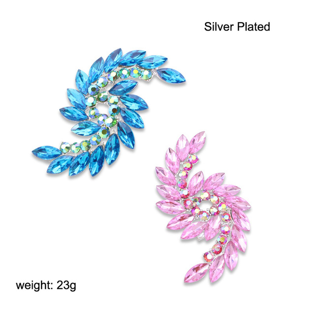 TANGTANG Brooch Silver Color Pink/Blue Crystal Pin Brooches For Engagement Jewelry Women Scarf Accessories Brooch Fashion Pins