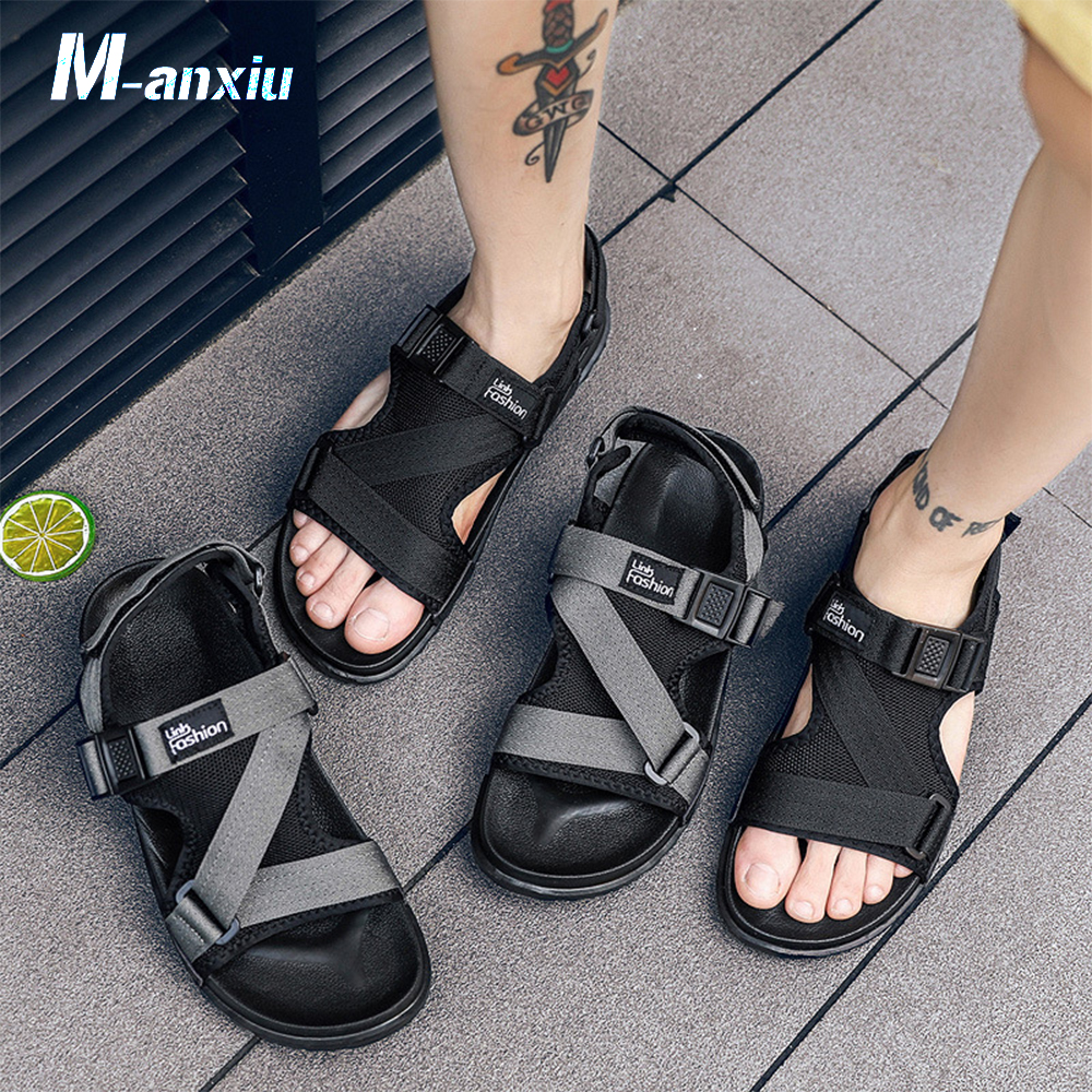 M-anxiu 2018 Summer Antiskid Sandal Men Casual Ankle Strap Hook & Loop Flat Patchwork Breathable Light Shoes Peep Toe Sandal