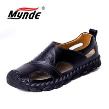 Brand Summer Mens Sandals Breathable Genuine Leather Beach Sandals Men