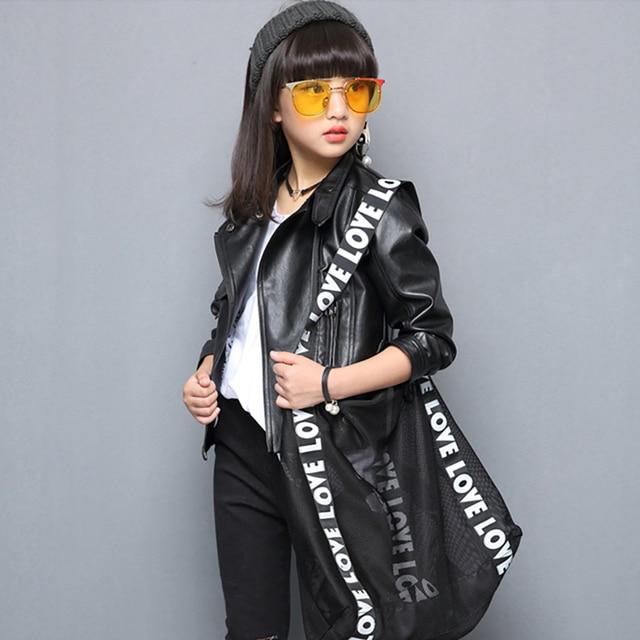 Весенняя куртка для девочек, пальто с длинными рукавами для девочек, из искусственной кожи, детская куртка, однотонная модная детская одежда для девочек 6, 8, 12 лет, осень