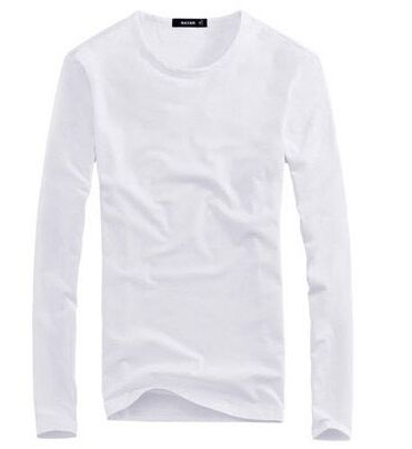 Classic shirt, male round collar and white autumn clothes mens body, pure color sweatshirt YSMILE Y Long#76 mens clothes