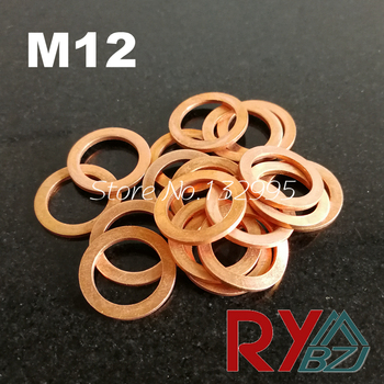 Copper Flat Washer M12 Seal Gasket inner diameter 12mm Sealing Ring Thin Sheet T3 Red copper washer