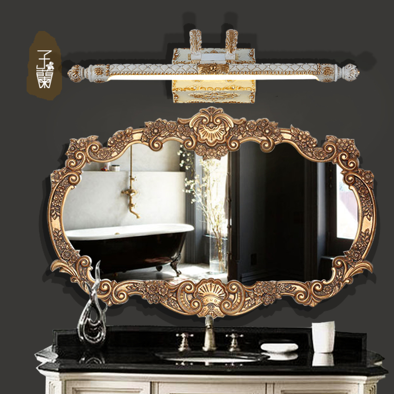 European-style bathroom mirror wall lamp retro LED lights toilet lights bathroom cabinet lights waterproof wall light wl4181718 antique led mirror lamp wall lamp toilet bathroom cabinet antifog light led retro makeup mirrorlamp fitting modeling wall sconce