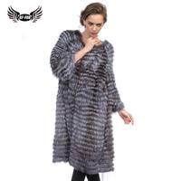 BFFUR Park With Natural Fur Real Fur Fox Coat For Women Fashion Slim Winter China Long Coat Women Fur Strip Sewed Toghter Solid