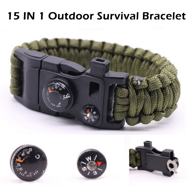 Outdoor survival parachute rope bracelet 15 in one multi function Compass Thermometer fire whistle parachute rope should be