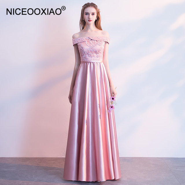 620c667f82057 NICEOOXIAO Sweet Pink Lace Bridesmaid Dress Fashion Chiffon Slim Party  Dress Solid Color A Line Bridesmaid Dress BNLF611-10