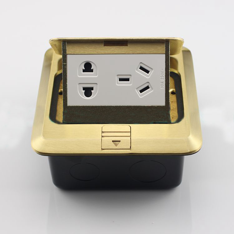 Bronze Pop-up Five Hole Power Socket Floor Panel Ground Outlet Receptacle manufacturer all aluminum panel uk standard pop up floor socket single power outlet rj45 audio 10 pcs set