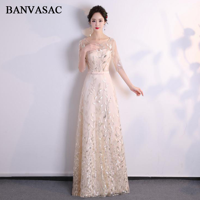 BANVASAC 2018 Illusion O Neck Bow Sash A Line Long   Evening     Dresses   Party Lace Appliques Half Sleeve Prom Gowns
