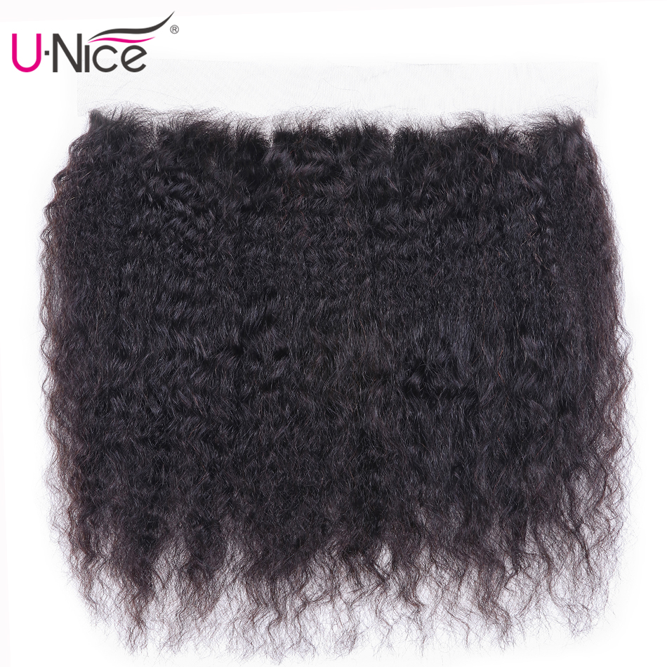 UNice Hair Brazilian Kinky Straight Hair 13*4 Lace Frontal Closure With Baby Hair 100% Human Hair Free Part Yaki Lace Closure