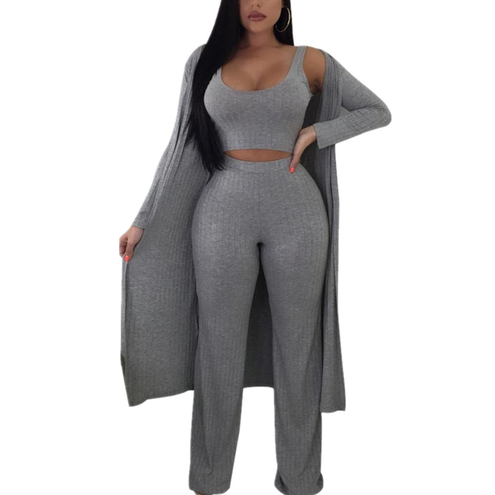 New Fashion Autumn Sexy Beach Style 3 Piece Women Set 1 Piece Outwear 1 Piece Top 1piece Long pant Bodycon Sets