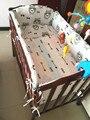 ¡ Promoción! 6 UNIDS Búho bebé cuna ropa de cama 100% algodón del lecho del bebé baby girls and boys (tope + hoja + funda de almohada)