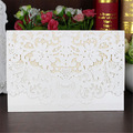 5pcs/set Cream white Horizontal Laser Cut Wedding Invitation with White Hollow Flora Free shipping High quality