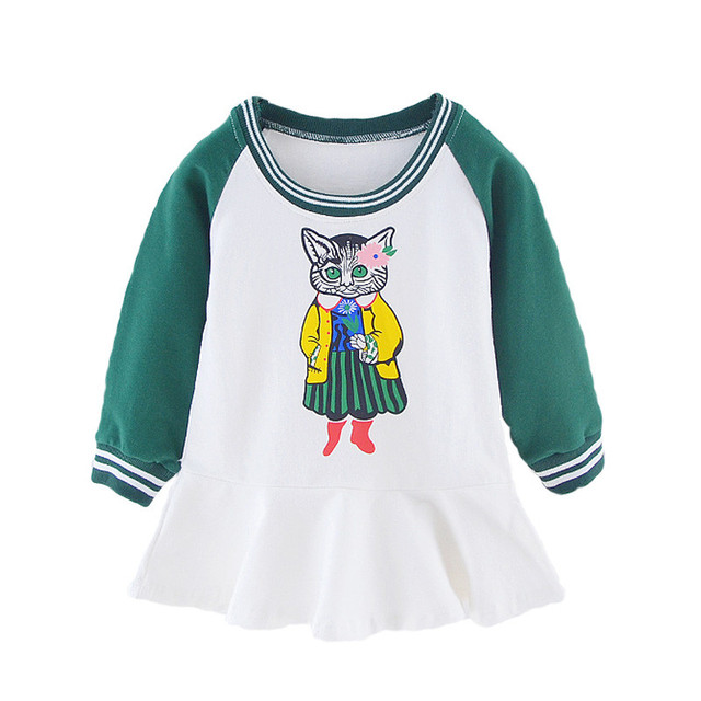 c264e675a545 Kids Dresses for Girls New Baby Girl Clothes Cartoon Cat Printed ...