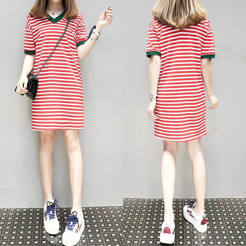 2019 Women's Long V-Neck Striped Short-sleeved T-shirt Casual dress for women