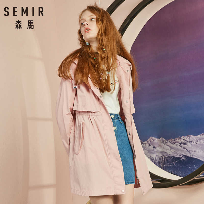 SEMIR Windbreaker Female 2018 Autumn New Hooded BF Style Student Patch Embroidered Waist Long Fashion Coat For Girls