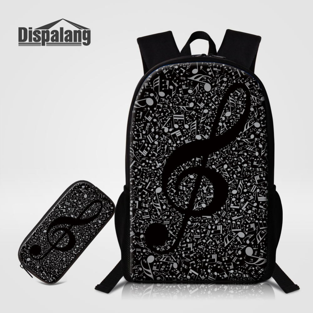 Dispalang 2pcs/set Musical Note Print Backpacks Large School Bags with Pencil Bag For Teenagers Girls Cute Book bag Pencil Case